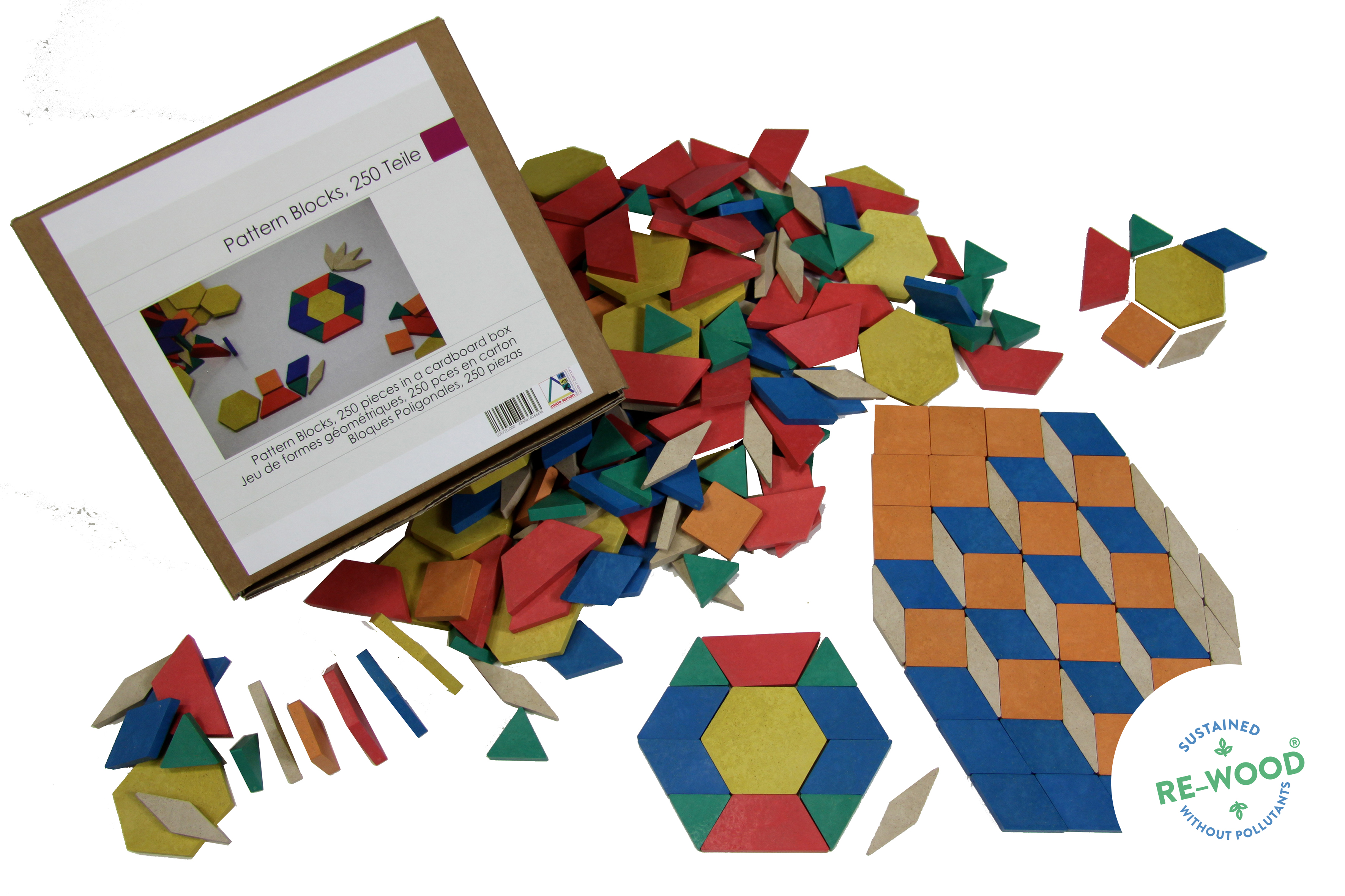 Geometrijski oblici drveni, 250 kom u 4 boje