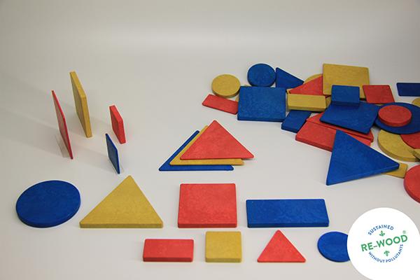 Geometrijski likovi, 48 kom, drveni
