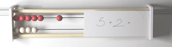 Drveni abakus za profesore s pločom za pisanje, 20 kuglica, crveno/bijeli