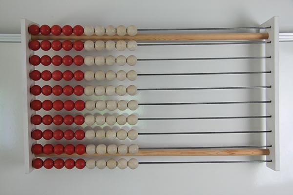 Drveni abakus za profesore, 100 kuglica, crveno/bijeli