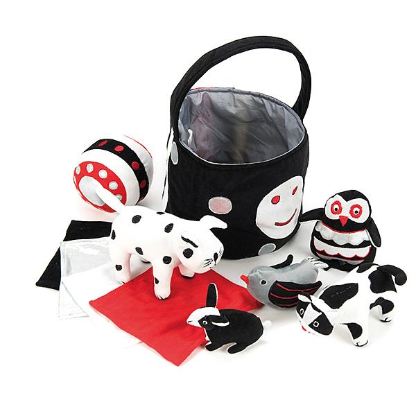 EY05085 Crno-bijela košara za bebine igračke