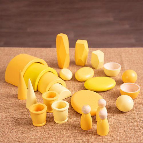 EY11122 Kolekcija drvenih predmeta - Žuta boja