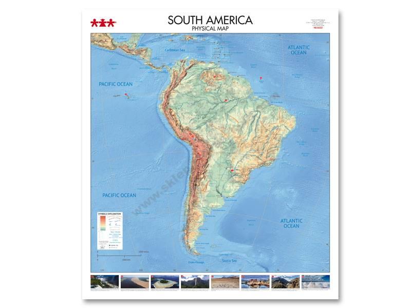 NS8332 Fizička karta kontinenta Južne Amerike