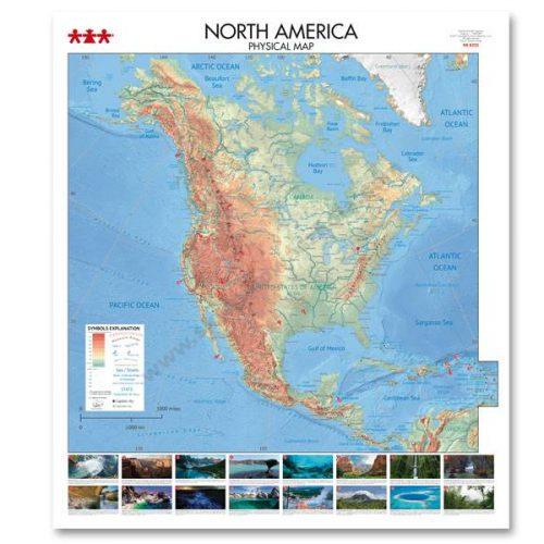 NS8333 Fizička karta kontinenta Sjeverne Amerike