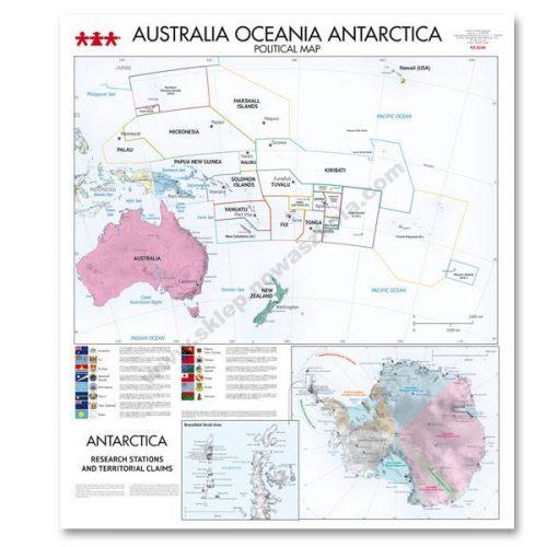 NS8344 Karta političkog uređenja kontinenata Australije, Oceanije, Antarktike